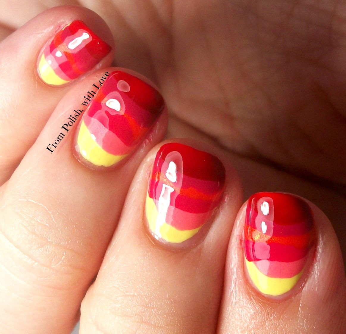Abstract Sunset nail art