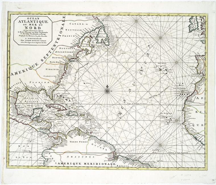 Ocean Atlantique Ou Mer Du Nord Ou Sont Exactement Observee Le Route D Europe Aux Indes Occidentales Et Des Indes Occide North America Map Map Art Old Map