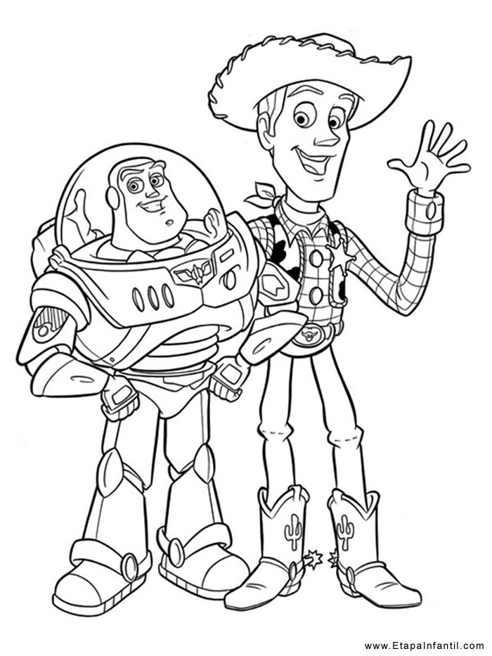 Dibujo para imprimir y colorear Buzz Lightyear y Woody ...