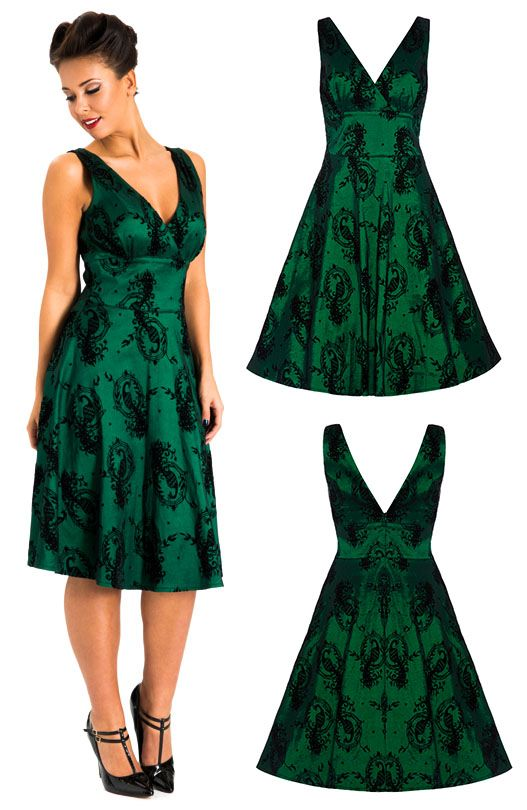 Voodoo Vixen EMERALD Green LACE Vintage SWING Skirt ROCK Rockabilly