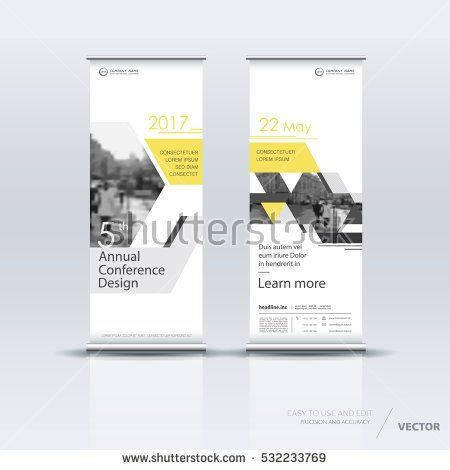 Yellow and white roll up banner design brochure flyer vertical