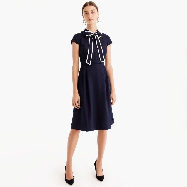 Tie Neck Dress In Italian Wool Crepe Women Wear To Work J