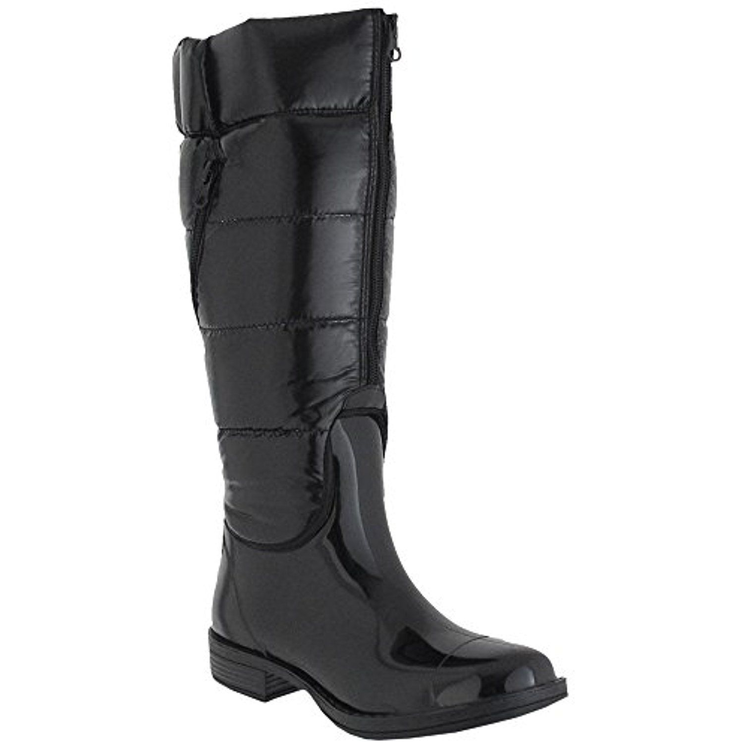 Shiny Nylon Quilted Shaft And Zipper Ladies Tall Saddle Body Rain Boot