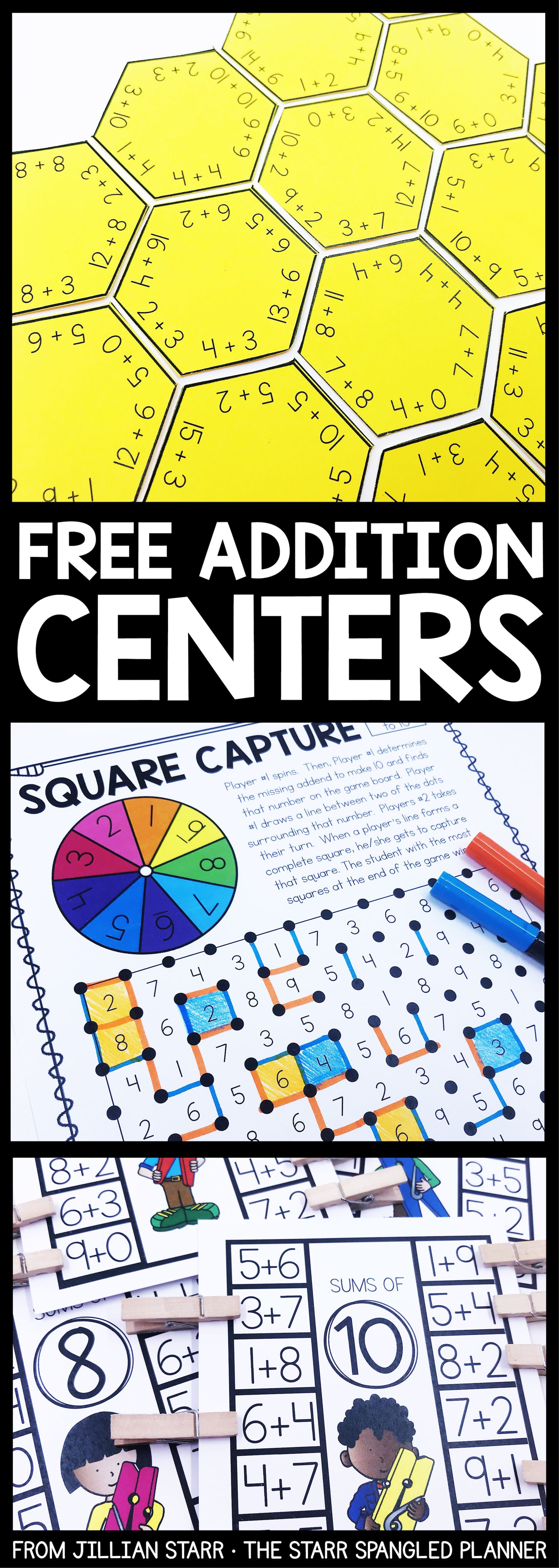 Addition Centers to help your students practice their addition math ...