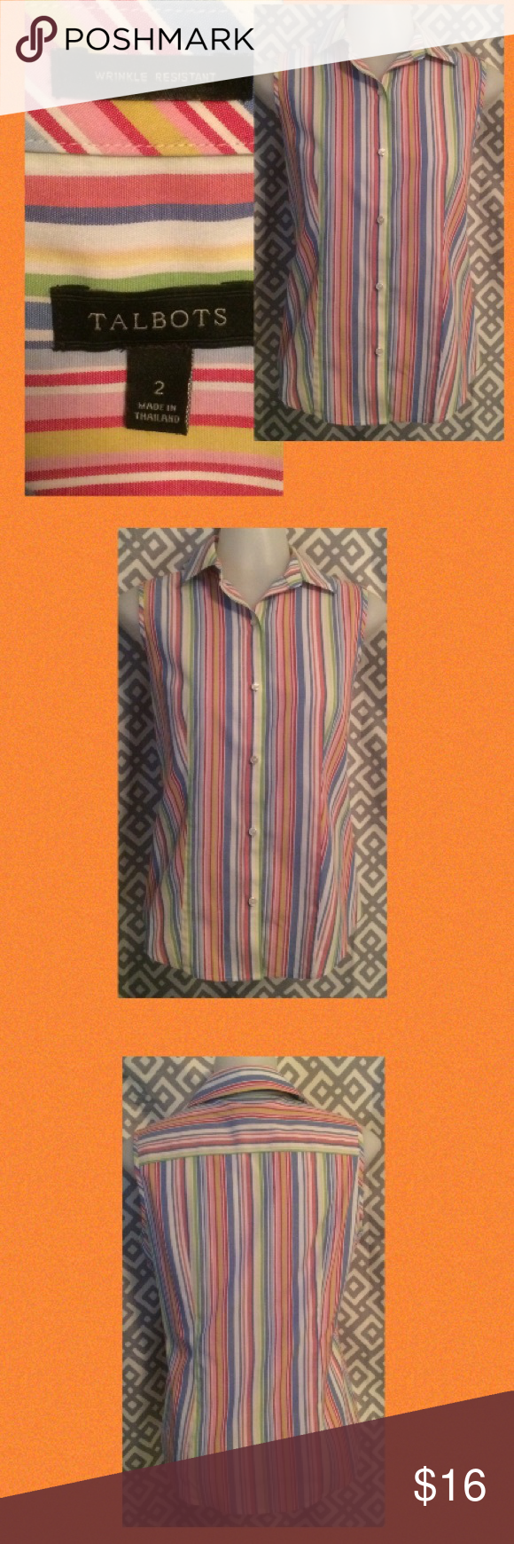 Talbots top; 2 wrinkle free button up Striped sleeveless top Talbots Tops