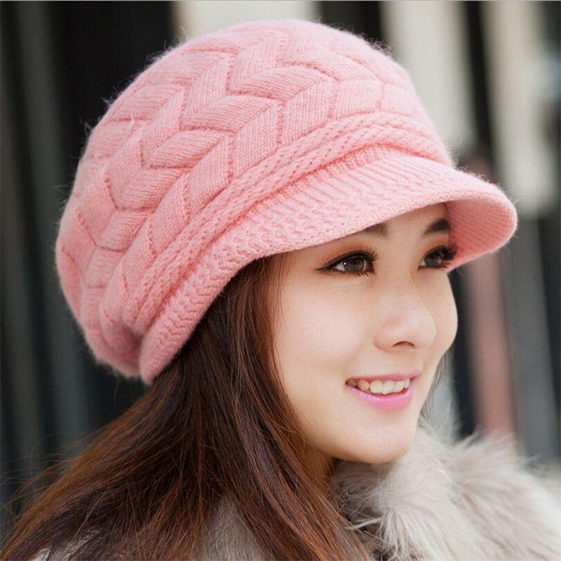 Newest Hot Sale Elegant Women Knitted Hats Rabbit Fur Cap Autumn Winter  Ladies Female Fashion Skullies Warm Hat Wholesale  Affiliate  dbdacb1f529a