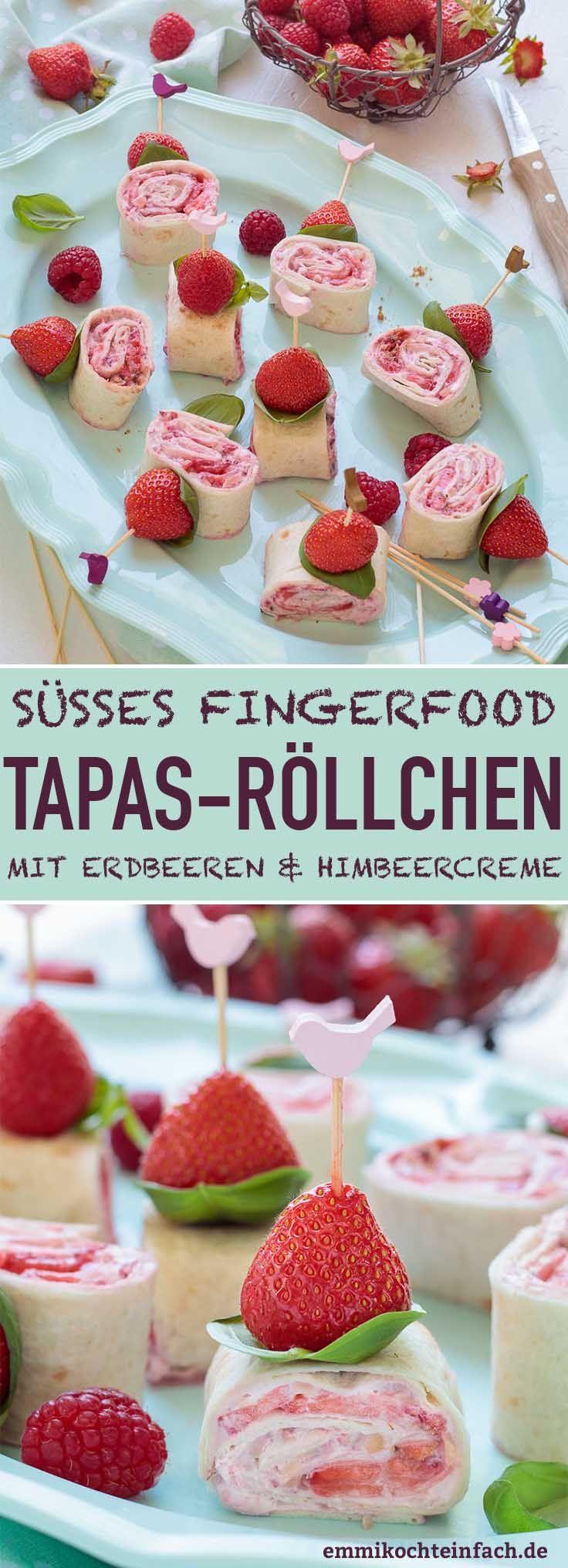 Süße Tapas Röllchen mit Erdbeeren & Himbeercreme - emmikochteinfach