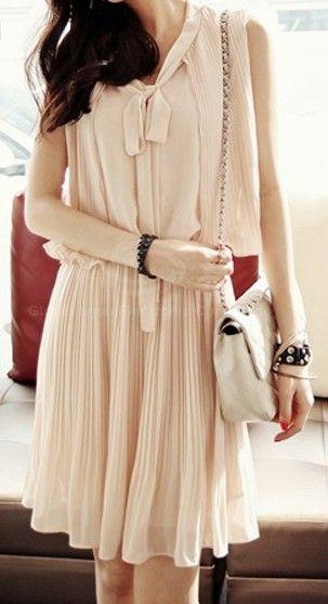 Work Style | Sleeveless, Ruffles, Ivory Chiffon Dress.    dresslily.com