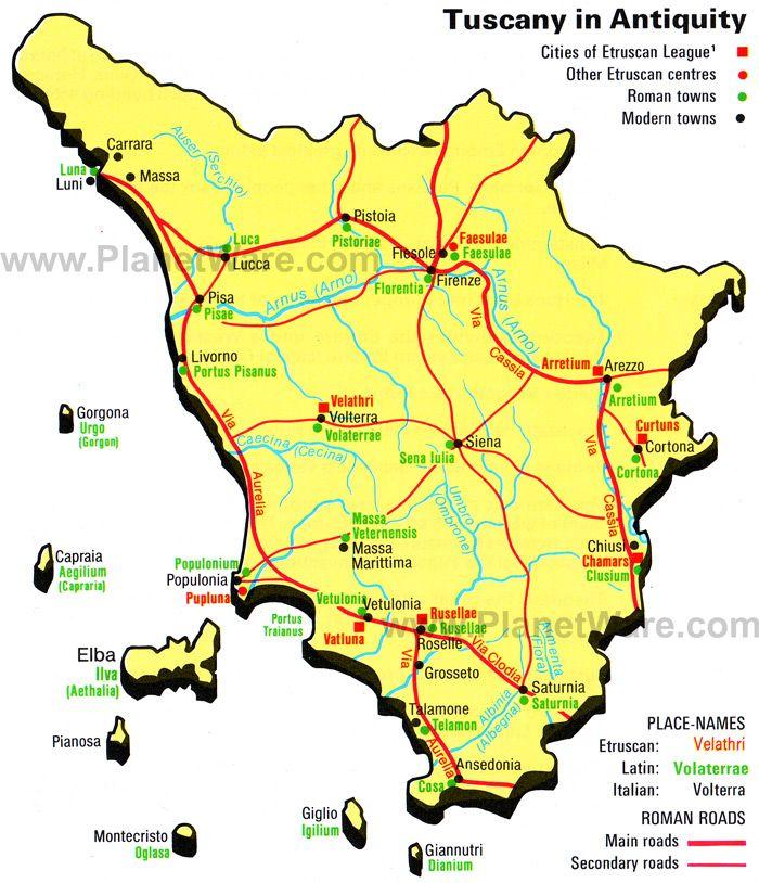 Map Of Tuscany Towns Italy Major Italian Cities In Tuscany - Tuscany region map