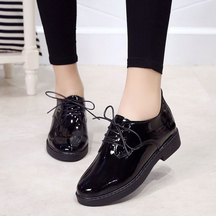 0c1e4073d0f Details about Lace On Martin shoes Women Korean Patent leather Thick ...
