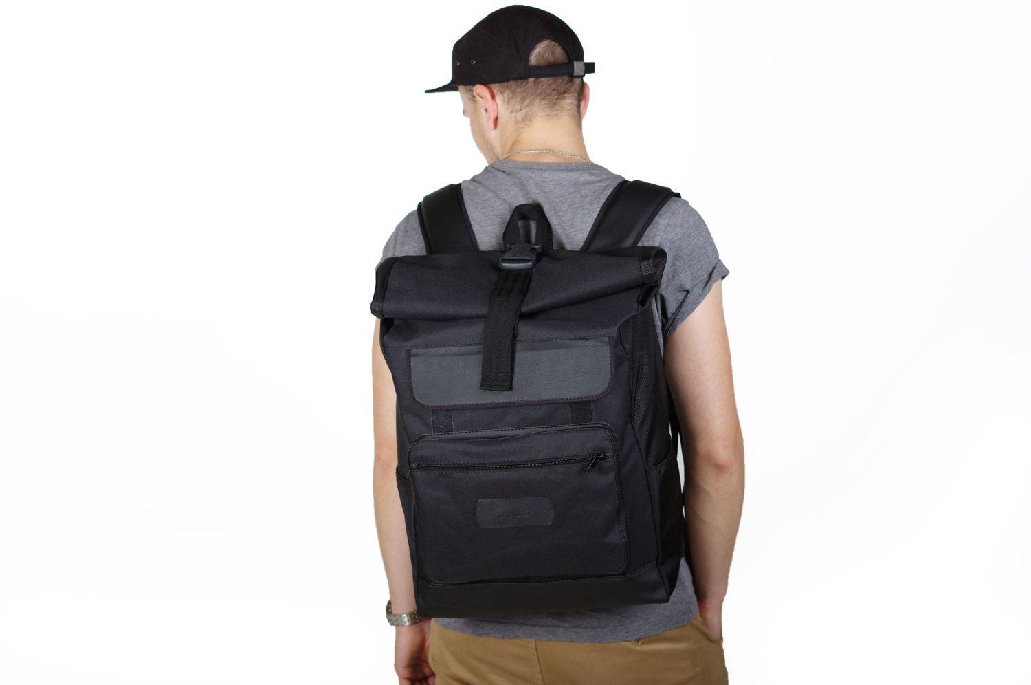 Roll Top WIDE Black Backpack, unisex Roll backpack, laptop roll backpack, laptop…