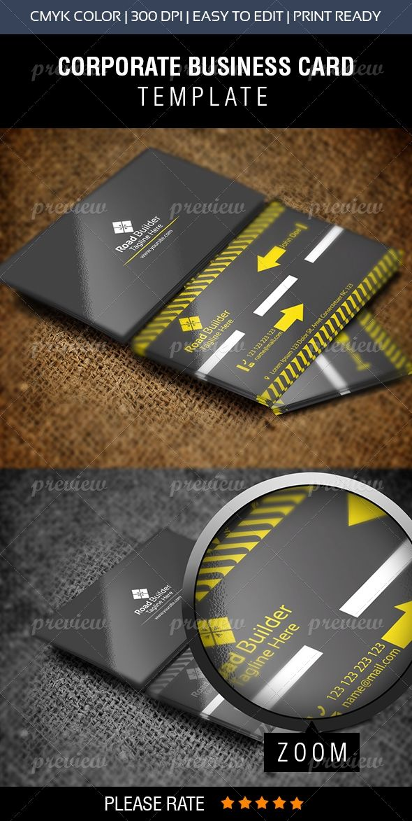 Road Builder Construction Business Card Construction Business Cards Examples Of Business Cards Business Cards
