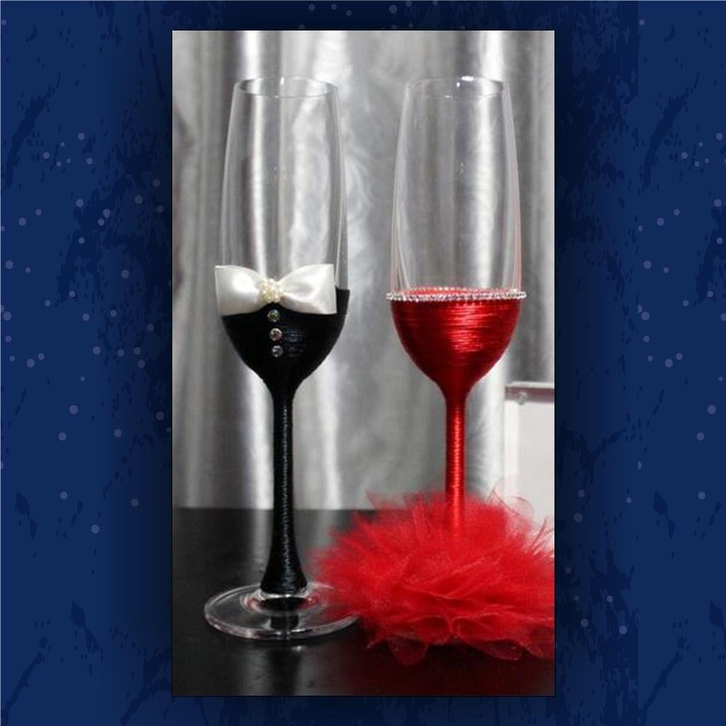 Bride And Groom Toasting Glasses Champagne Glasses Ribbon Wrapped Glasses Fancy Dress Tuxedo His And Wedding Cups Wedding Glasses Toasting Glasses