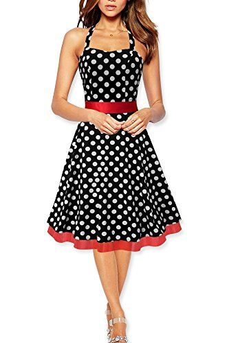 Black Butterfly Halterneck Vintage Polka Dot Rockabilly Swing Dress