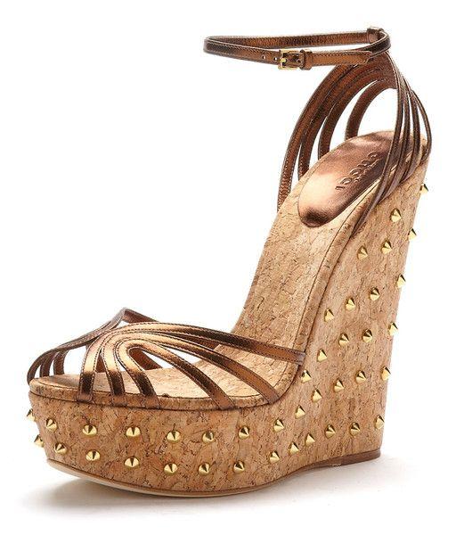 d81738cc93bf My latest Obsession!! Gucci Cecyl Bronze Nappa Gold Studded Platform ...