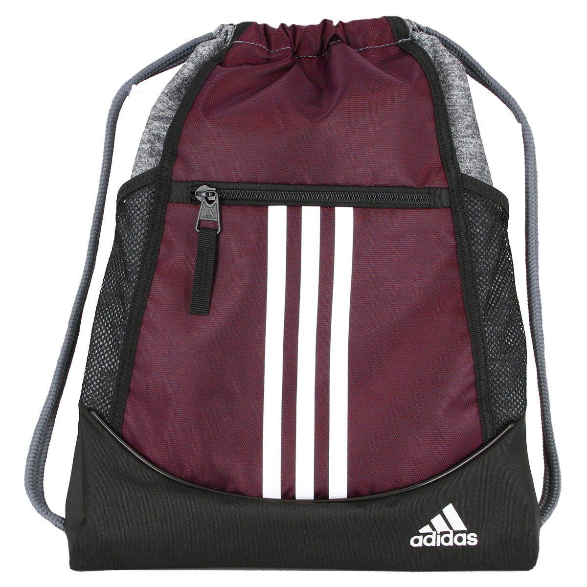 ef0c8fb39718 Color Dark Burgundy Onix Jersey Black White adidas Alliance Sack Pack Drawstring  Gym Bags Unisex Backpacks Sports Sackpacks With two water bottle pockets ...