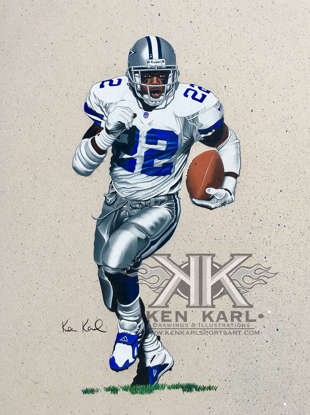 754a200e9 11x14 colored pencil drawing of NFL HOFer and Dallas Cowboy Emmitt Smith