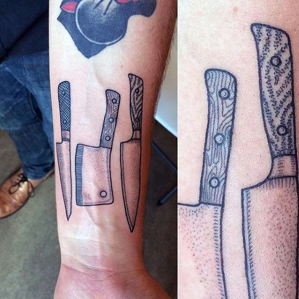 Mens dotwork chef knife wrist tattoos pinterest for Butcher knife tattoo