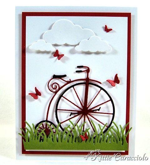 card by Kittie Caracciolo using Memory Box Vintage Bicycle die