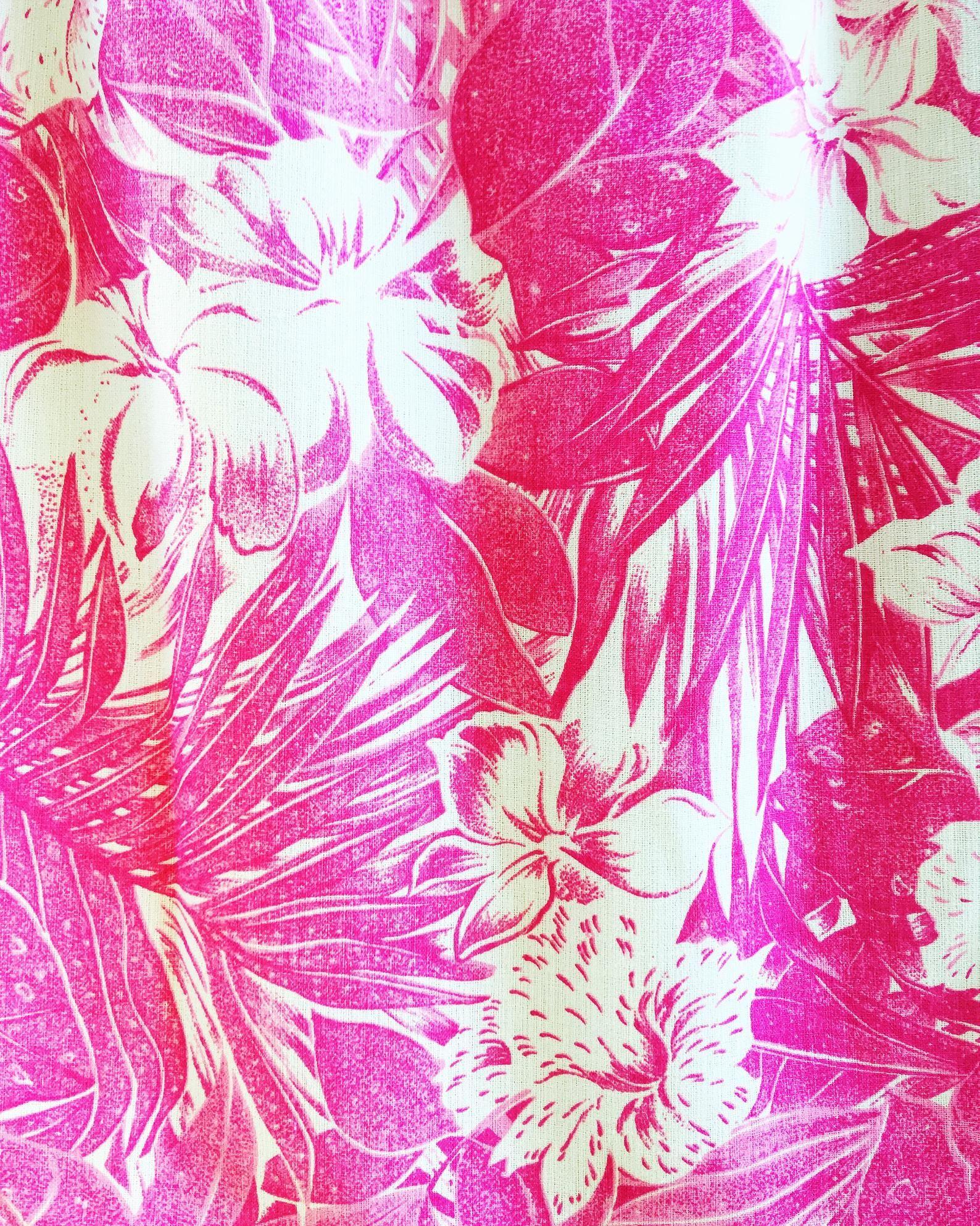 Pink Tropical Hawaiian Floral Print High Waist Skirt Retro Vintage
