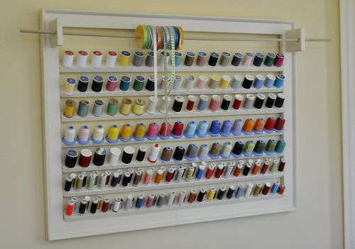 In The Studio A Thread Rack From My Big Bear Thread Rack Sewing Room Storage Sewing Room Organization