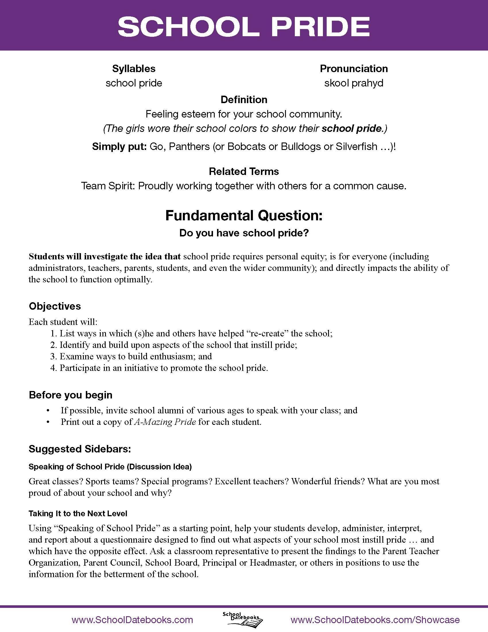School Pride - Character Lesson Plan. Free [ 2200 x 1700 Pixel ]