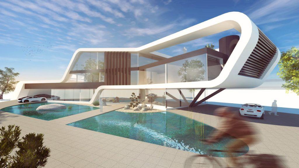 Expressives Bürogebäude Mit Viel Glas Und Amorpher Gebäudehülle. Architektur  Für Ein Progressives Unternehmen.