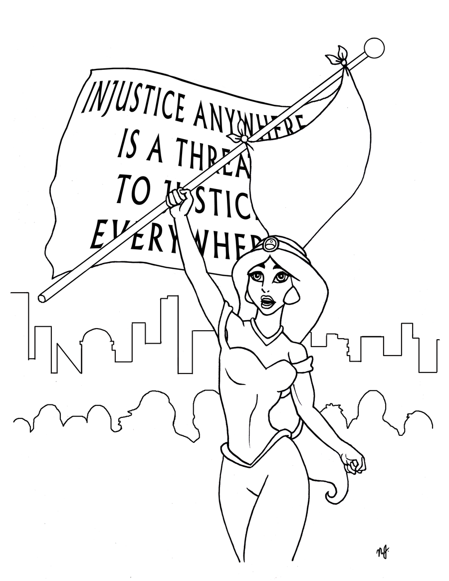 commission jasmine feminist coloring page by nathanleejames