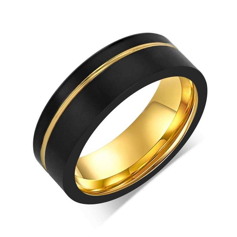 Asymmetrical Yellow Gold Plated Wedding Band Black Gold Etsy In 2020 Gold Tungsten Wedding Bands Gold Plated Wedding Band Black Wedding Band