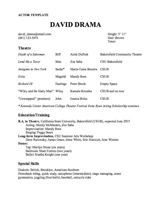 Actor Resume Template Sample - http://resumesdesign.com/actor-resume ...