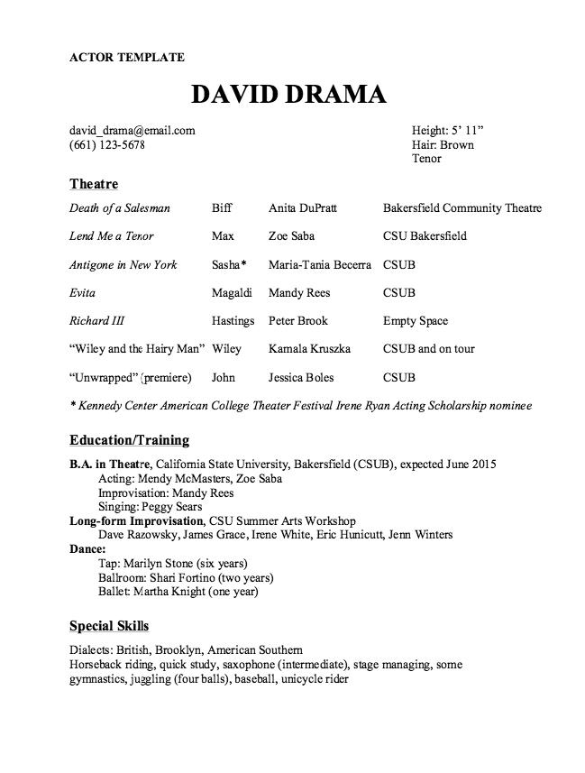 Actor Resume Template Sample Free Resume Sample