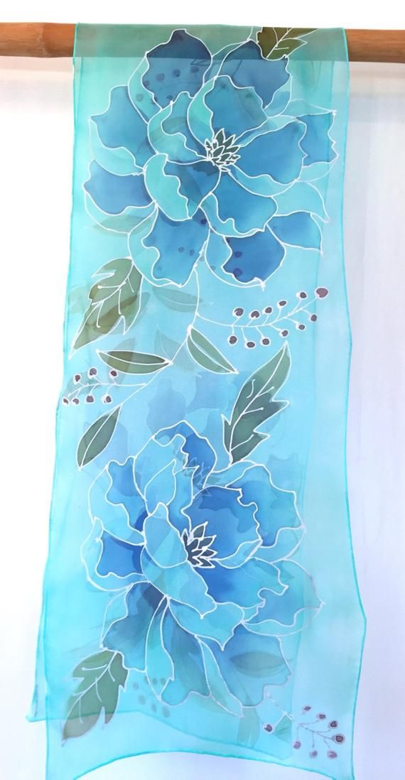 Silk Scarf Hand painted, Etsy, Silk Scarf Blue, Silver and Blue Peonies Kimono Scarf, Silk Scarves Takuyo, 14x72 inches. Made to order #bluepeonies