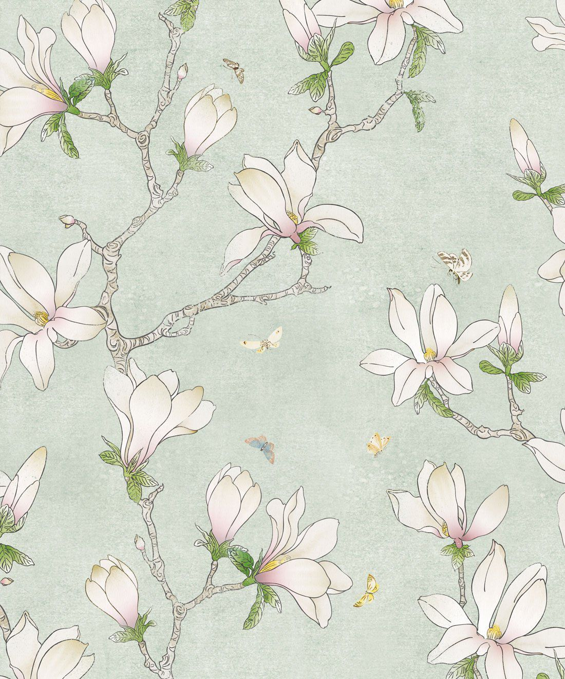 Removable Water-Activated Wallpaper Magnolia Flowers Flower Floral Botanical