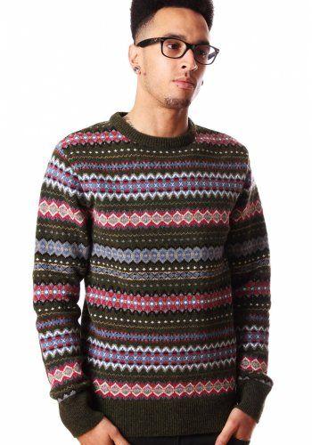 Barbour Caister Fair Isle Men's Lambswool Sweater Olive | Men's ...