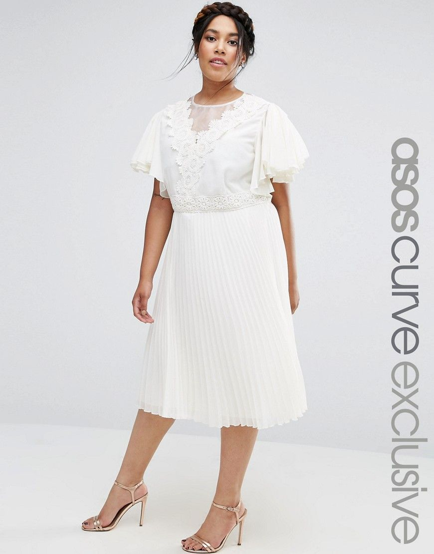 0bc231c8c4c3d ASOS CURVE Pleated Skirt Midi Dress with Crochet and Organza Detail ...