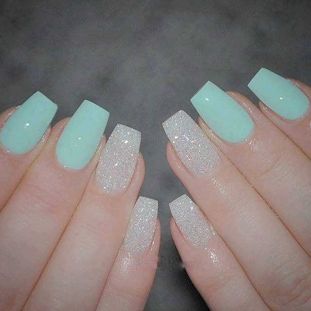 Mint And White Nails In 2019 Mint Nails Aqua Nails Green