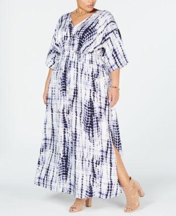 ced16b231b95 I.N.C. Plus Size Tie-Dye Kimono-Sleeve Maxi Dress