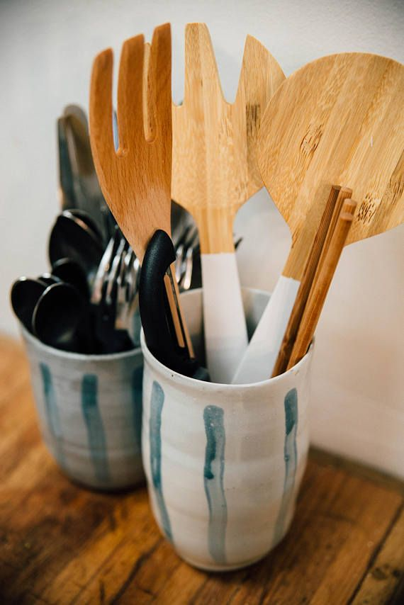 Ceramic Utensil Holder | Ceramic Kitchen Canister | Pottery Utensil Crock | Kitchen  Tool Holder |