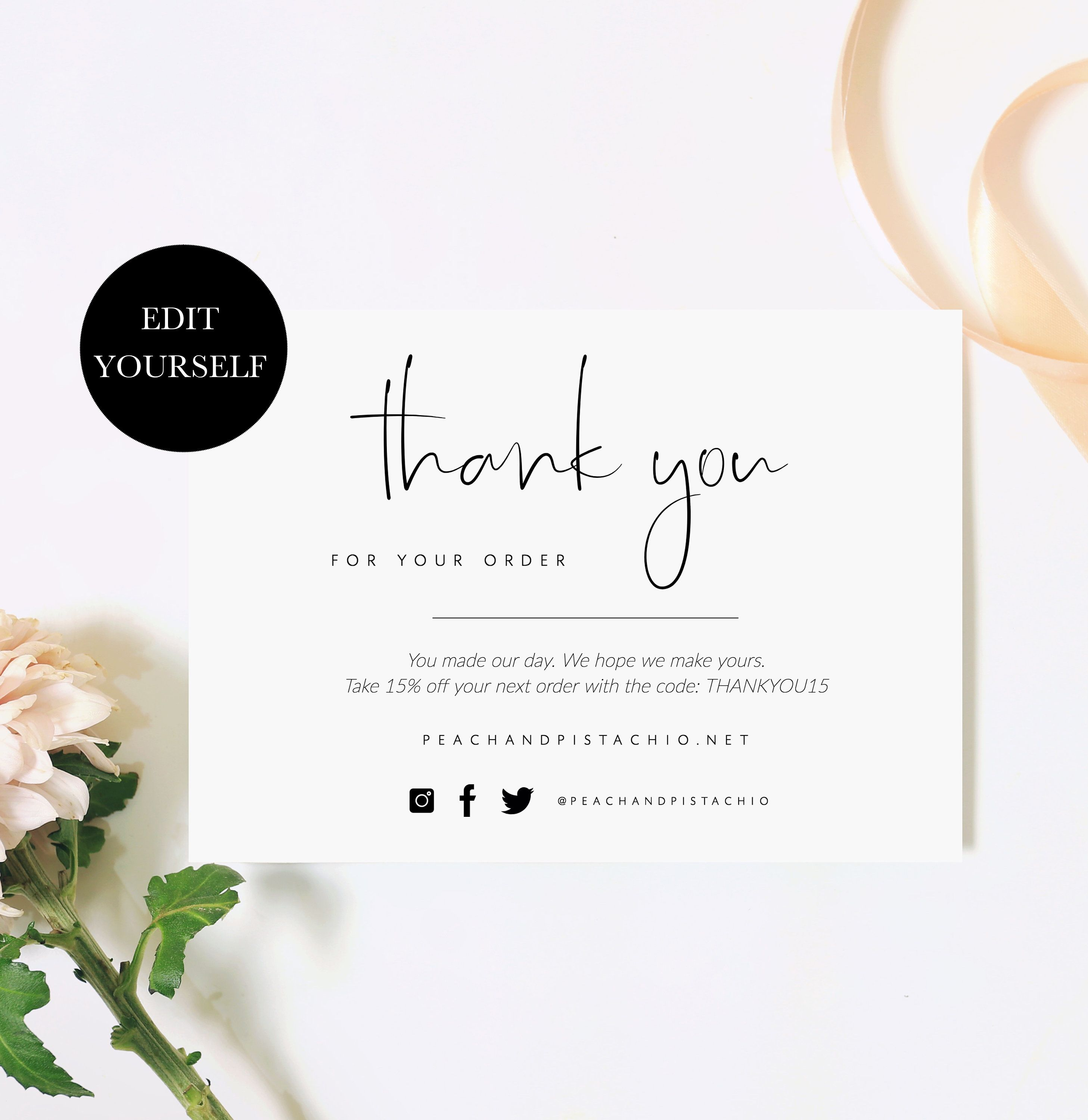 Business Thank You Insert Cards Customer Thank You For Your Order
