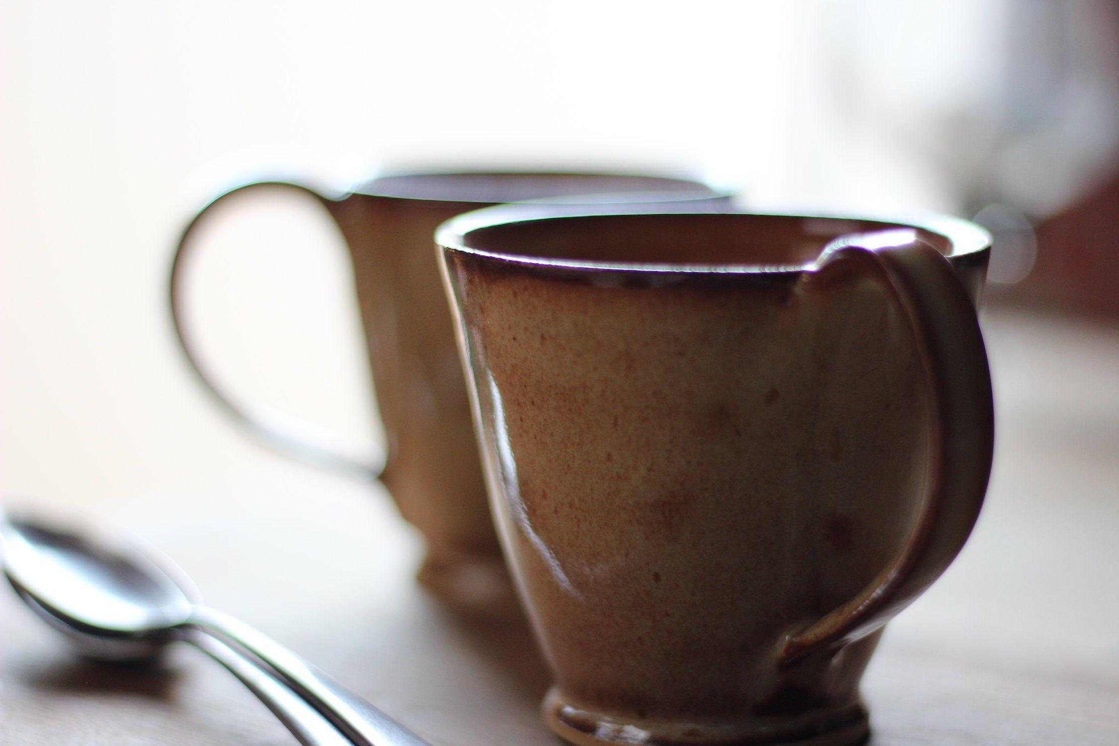 Espresso mugs set of small toasted cream stoneware mugs