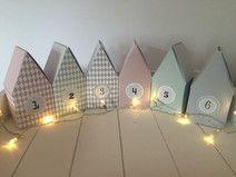 DIY Adventskalender Häuser aus Papier weihnachten Pinterest