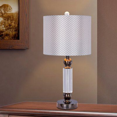 23.75 in. Crystal and Metal Table Lamp w/LED Nightlight - W-M.R.5130BLKC