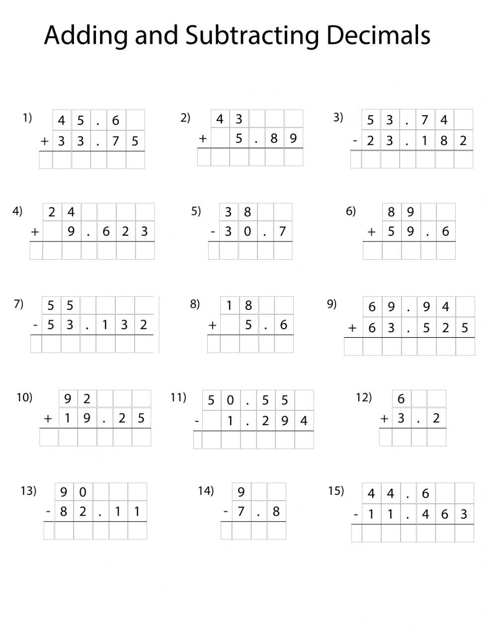 Decimal Numbers Online Worksheet For 5th You Can Do The Exercises Online Or Download T In 2021 Subtracting Decimals Decimals Worksheets Subtracting Decimals Worksheet Adding and subtracting decimals grade 6