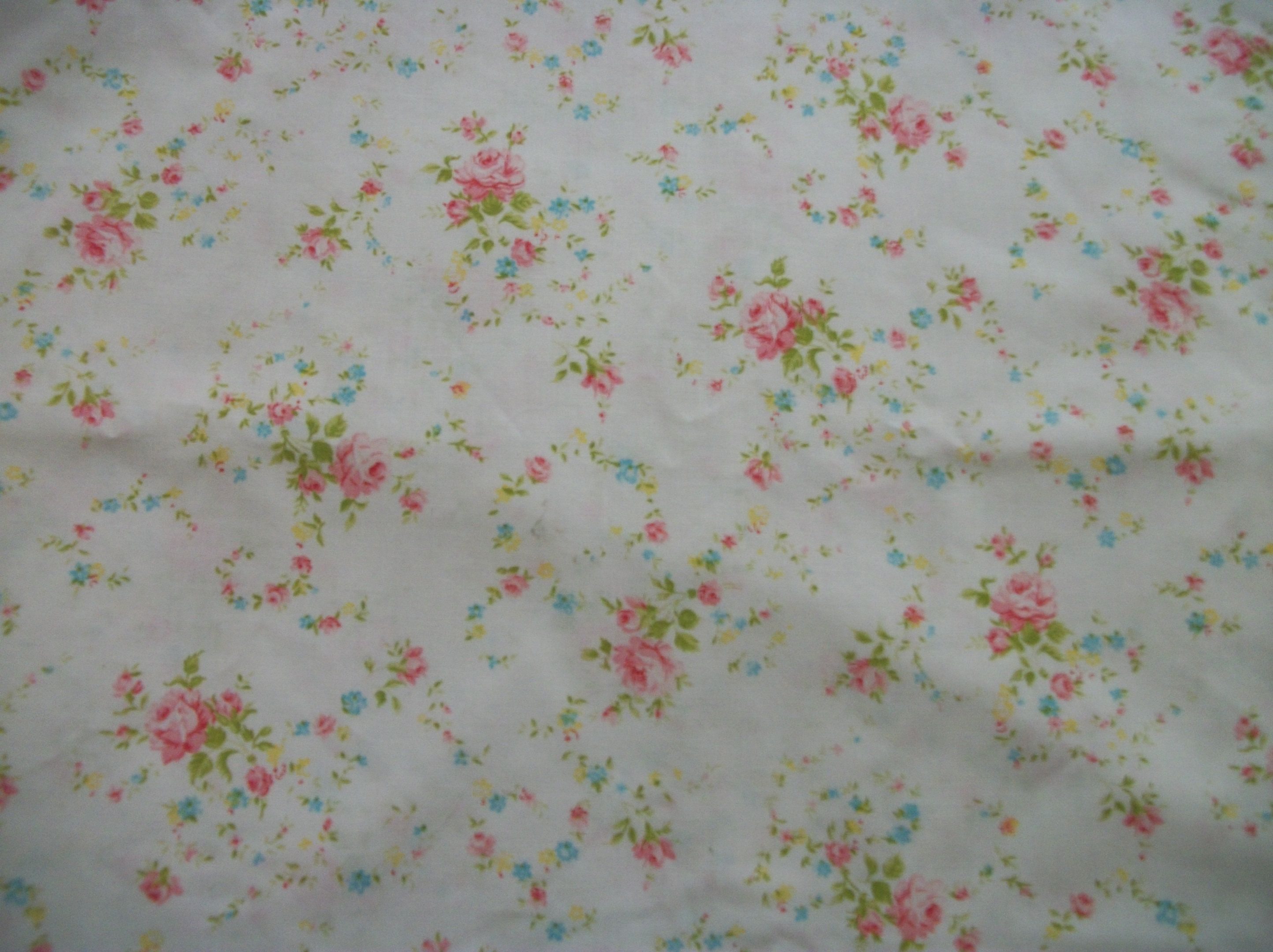Vintage pink roses floral bed sheet T twin size flat