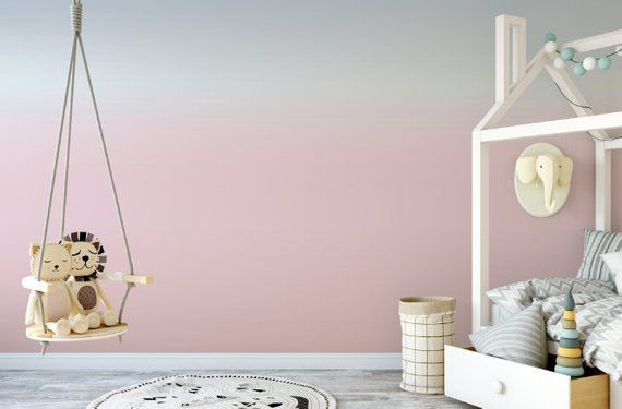 Pink, Peach and Soft Blue Ombre Removable Wallpaper // Dip