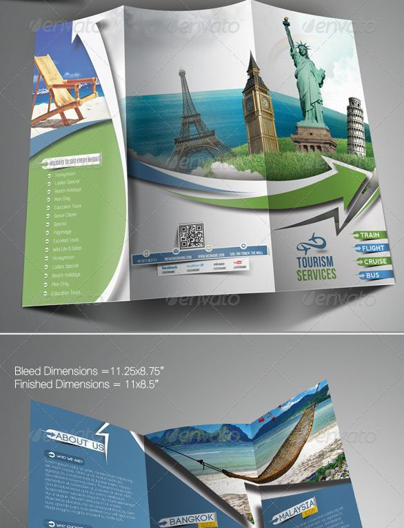 Travel tours trifold brochure template template pinterest brochures brochure template and for Travel brochure templates