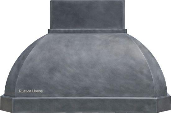 Zinc range hood for wall mounting and central kitchen island. #zincrangehood #zinchood #rusticahouse