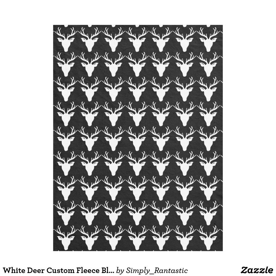 White deer custom fleece blanket