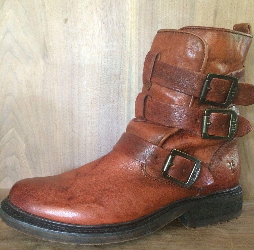 Frye Valerie Shearling Strappy Cognac Buckle Women's Motorcycle Boots size  8 #Frye #BikerBoots #