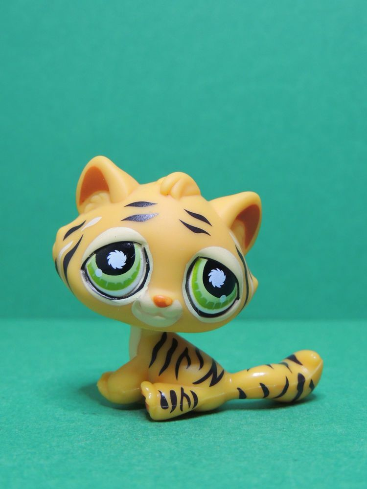 1267 tigre tiger cat chat kitty orange green eyes lps littlest pet shop figure juguetes - Petshop tigre ...
